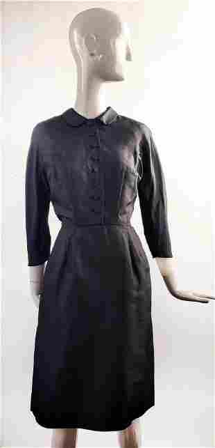 I. Magnin Black Silk Twill Dress, ca. 1950s