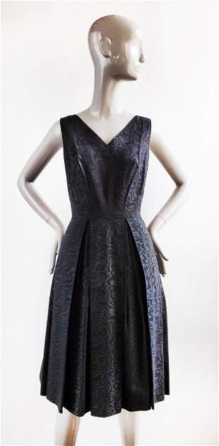 Franco Bertoli Milano Black Moire Dress, ca. 1950s