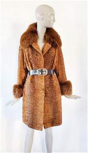 Christian Dior Couture Broadtail & Fox Fur Coat, F/W
