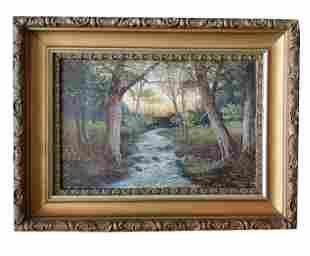 19th c J Davis Signed Oil Painting