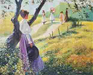 J Collar b1941 Signed Impressionist Oil Painting