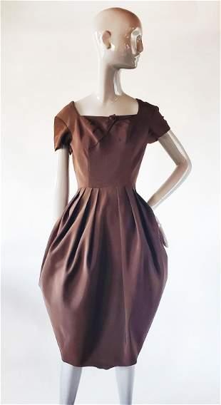 Lempereur Paris Haute Couture Silk Ottoman Dress 1950s