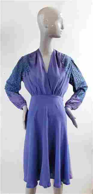Purple Dress with Lace Sleeves, ca. 1930s