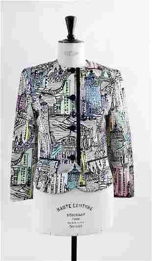 Louis Feraud City Drawing Print Jacket ca 1990s