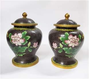 Pair of Chinese Black Cloisonn Jars