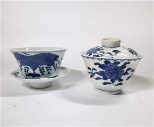 2 Antique Chinese Blue White Bowls