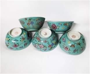 Set of 5 Chinese Enameled Porcelain Bowls