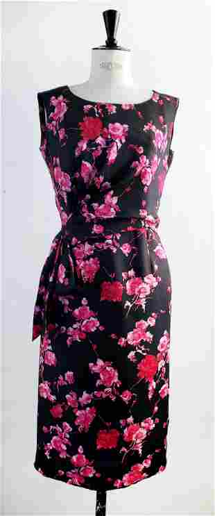 French Haute Couture Floral Silk Dress, 1960s