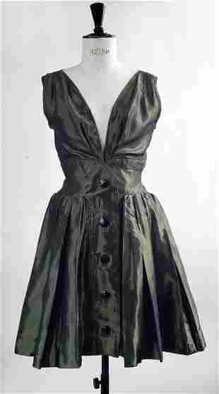 Yves Saint Laurent Green Taffeta Dress, F/W 1991.