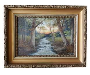 19th c. J. Davis Signed Oil Painting