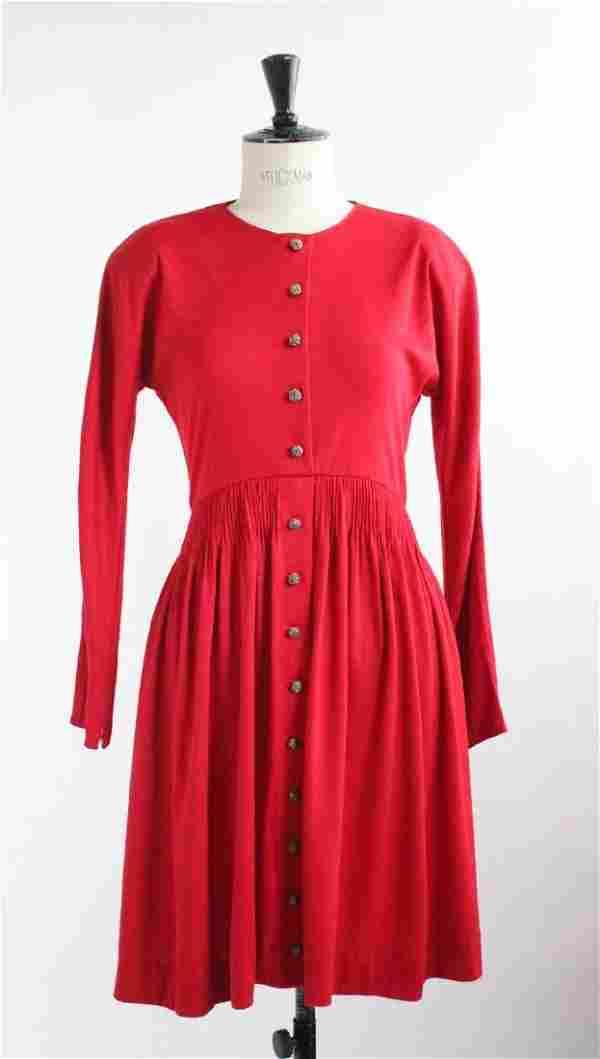 Geoffrey Beene Red Jersey Dress, ca.1980s