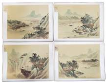 Set of 4 Chinese Watercolor Landscapes