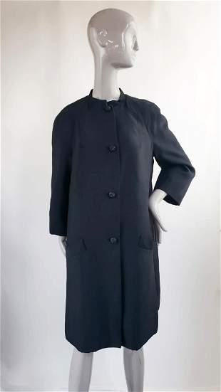 Christian Dior London Black Silk Coat, 1960s