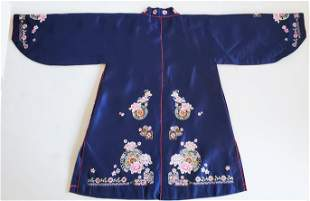 Chinese Hand Embroidered Silk Robe, 20th c.