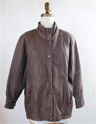 Jacqueline Ferrar Brown Leather Jacket, 1980s