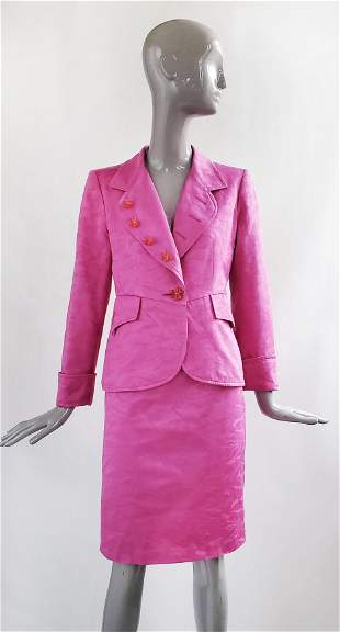 Christian Lacroix Pink Jacquard Suit, 1990s