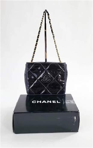 Chanel Quilted Black Patent Leather Shoulder Bag, 1980s