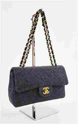 Chanel 2.55 Quilted Gray Wool Shoulder Bag, 1990s
