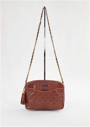 Chanel Brown Lizard Quilted Camera Bag,1980s