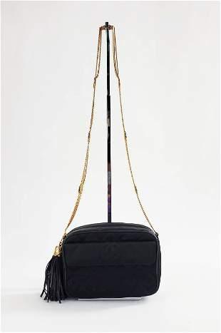 Chanel Black Satin & Leather Camera Bag, 1990s
