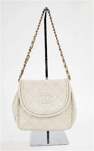 Chanel White Quilted Leather Shoulder Bag, 1990s