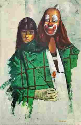 P. Johnson Signed Clown & Woman Painting, Mid Century