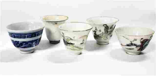 5 Antique Chinese Small Cups