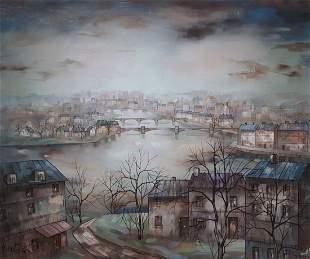 "Hugo Casar (German, 1911-1975) ""Paris"" ,Oil On"