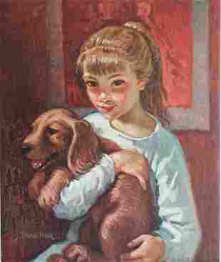 Joan Torras Viver (Spanish, b.1929) Young Girl with Dog