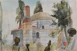 19th Century 'Mosque in Bursa, Turkey' Orientalist