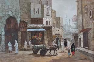'Ismael' Signed, Orientalist Middle Eastern Street