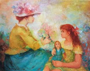 M. Vilmon Signed, 'Mother and Daughter' Oil on Canvas