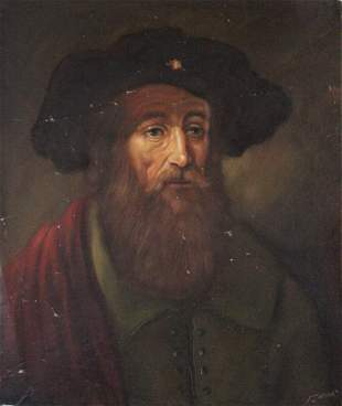 Renaissance Style Portrait of a Man, Signed Painting