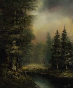 Hans Scheffel (Austrian) 'Landscape, Forest' Painting