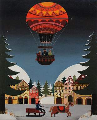 M. Gallo Signed 'Winter Scene with Balloon and Horse'