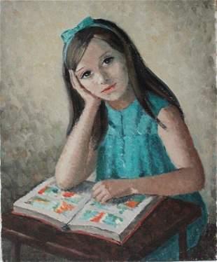Mercedes Malet Travy (b.1918) Studying Girl Portrait
