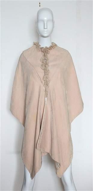 Antique Victorian Silk Corduroy & Lace Cape, c.1890's