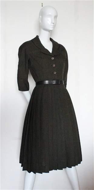 Hardy Amies Pleated Wool New Look Dress, 1950's