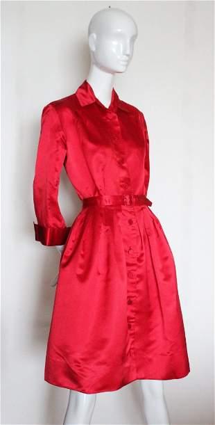 Jacques Fath for Joseph Halpert Red Satin Dress, c.1952
