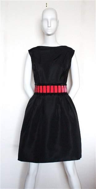 Schiaparelli Beaded Black Silk Faille Dress, c.1950's