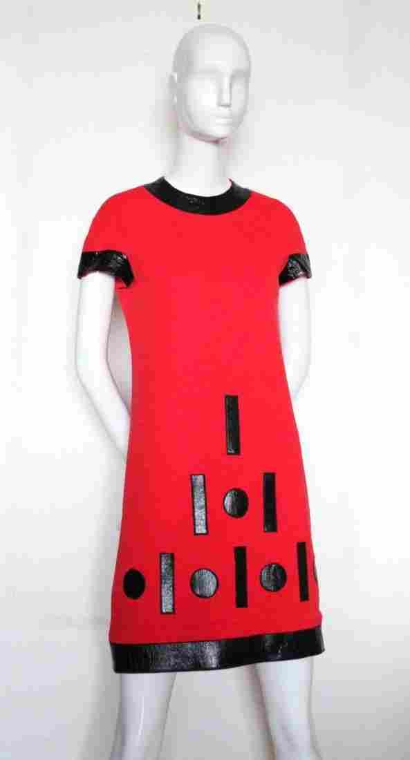 Iconic Pierre Cardin 'Cosmos' Wool & Vinyl Dress,c.1967