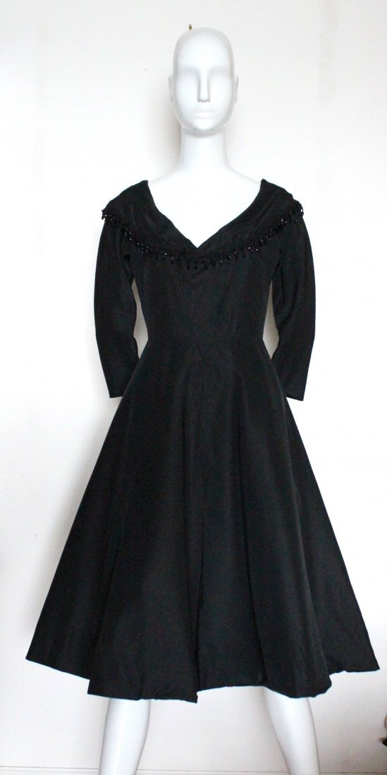Saks Fifth Avenue Black Silk Cocktail Dress, 1950's