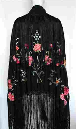 Vintage Spanish Floral Embroidered Piano Shawl