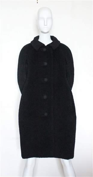 Christian Dior New York Black Wool Coat, c.1955