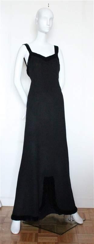 An Elegant Wool Evening Dress with Velvet Trim,c.1930s