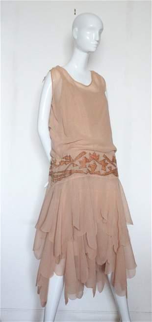 Rare Madeleine Vionnet Silk Flapper Dress, c.1920's