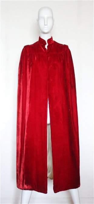 1920's Red Velvet Cape, 'Honor Roche O'Connor Boston'