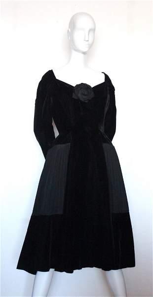 Christian Dior Haute Couture Black Velvet Dress, c.1954
