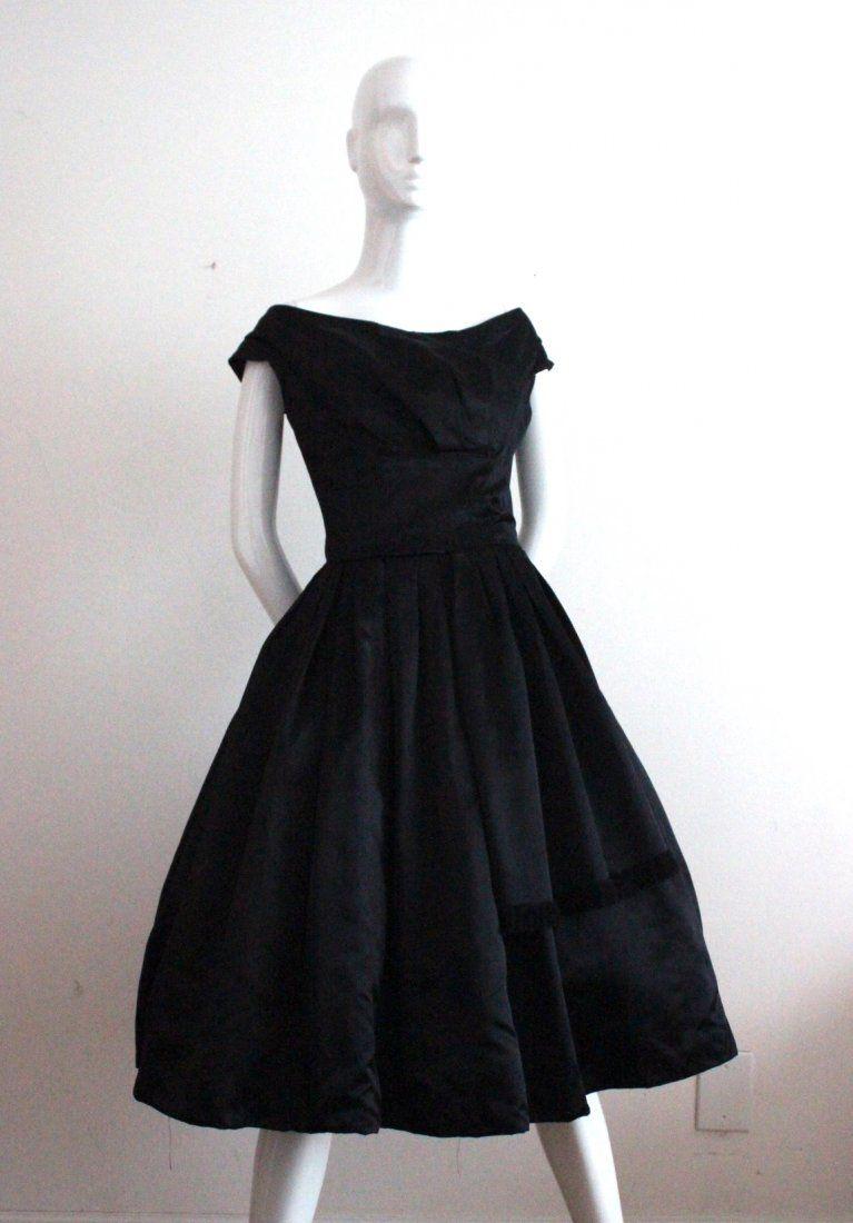 Christian Dior London Black Satin Cocktail Dress,c.1956