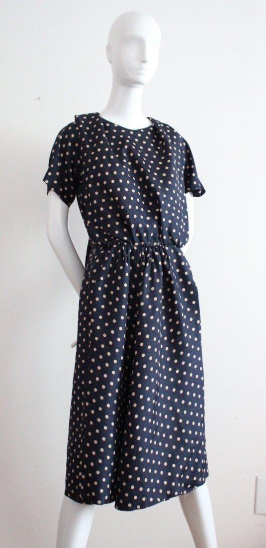 Pauline Trigere Navy Polka Dot Silk Dress, c.1950's
